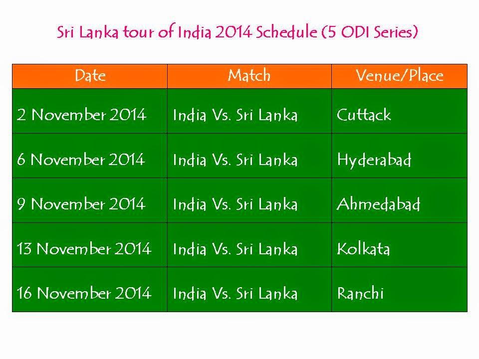 Sri Lanka Tour of India 2014 Schedule 5 ODI Series