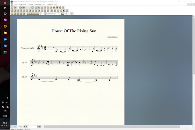 Hier schrieb ich ein Stück in Trompete um und spielte es direkt vom Tablet ohne es auszudrucken.