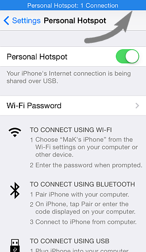 personal hotspot: 1 connection