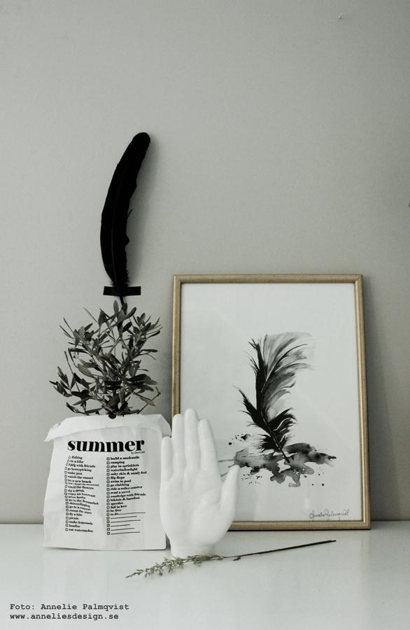 fjäder tavla, tavlor, fjädrar, konsttryck, posters, poster, print, prints, på väggen, atelje, vit påse med text, guldram, guldramar, ram och tavla, beställa, vit hand, porslinshand, annelies design, webbutik, webbutiker, webshop med inredning, inredningsdetaljer, inredningsblogg, bloggar, bloggen, olivträd, annelie palmqvist