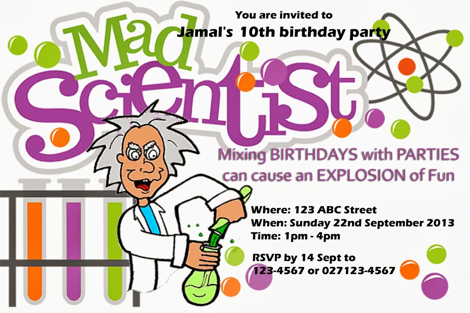 Pennys Parties Mad Scientist Party – Mad Scientist Birthday Party Invitations