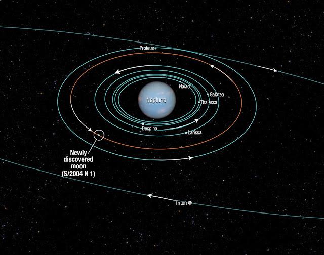 Biểu đồ cho thấy những vệ tinh gần Sao Hải Vương. Credit : NASA, ESA, and A. Feild (STScI).