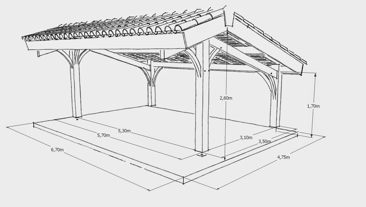 Modelisation Projet Carport Bois 2 on wood lean to carport plans