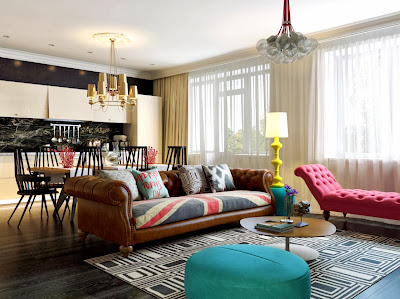 pop art style living room with attractive american flag upholstery, pink sofa, round lime sofa