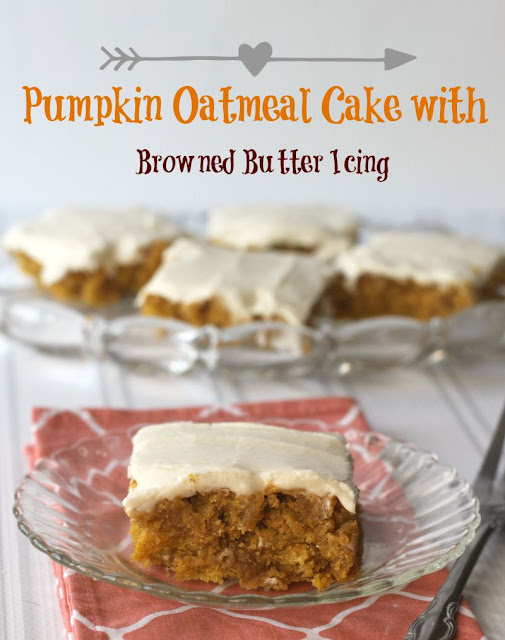 Pumpkin Oatmeal Cake with Browned Butter Pumpkin Icing by Crazy for ...