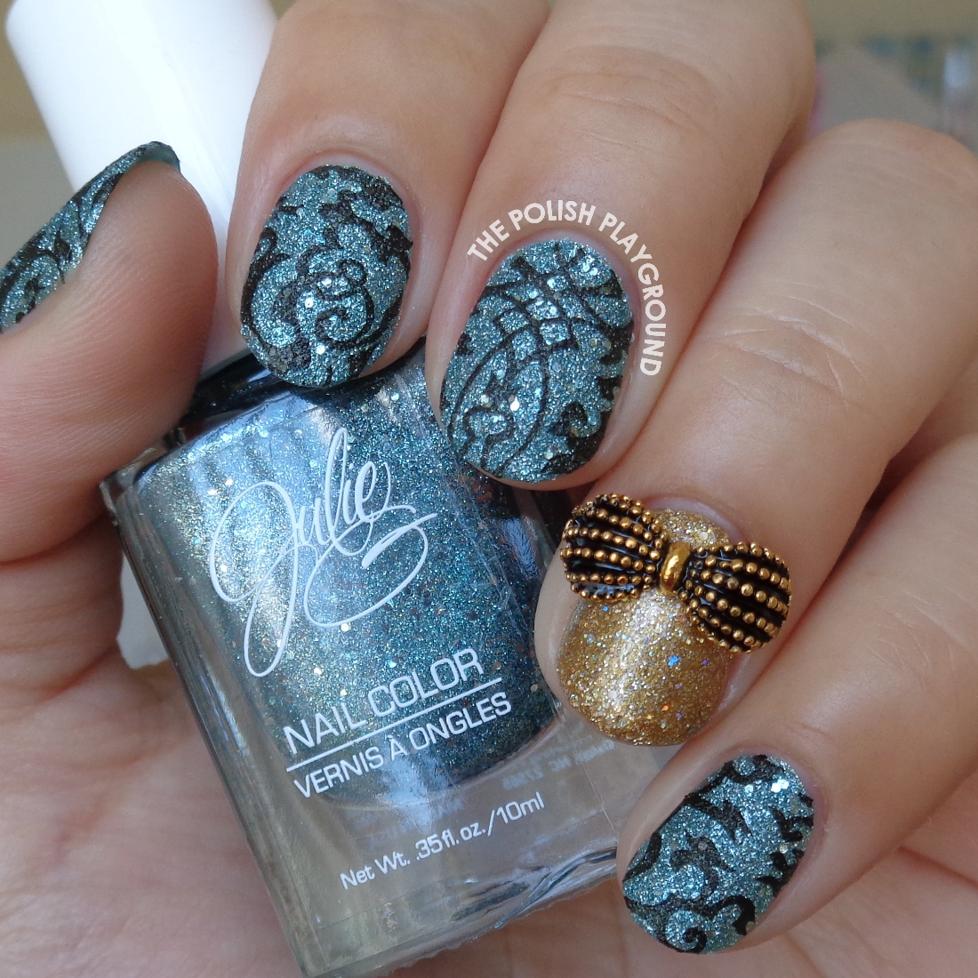 The Polish Playground: Blue Texture & Black Stamping with Gold Accent
