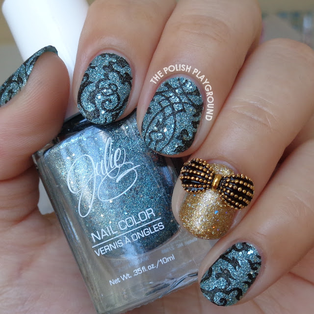 Blue Texture and Black Stamping with Gold Accent Nail Art