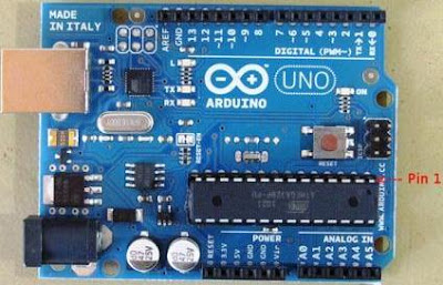 Arduino UNO, with ATMEGA328P-PU pin 1 indicated