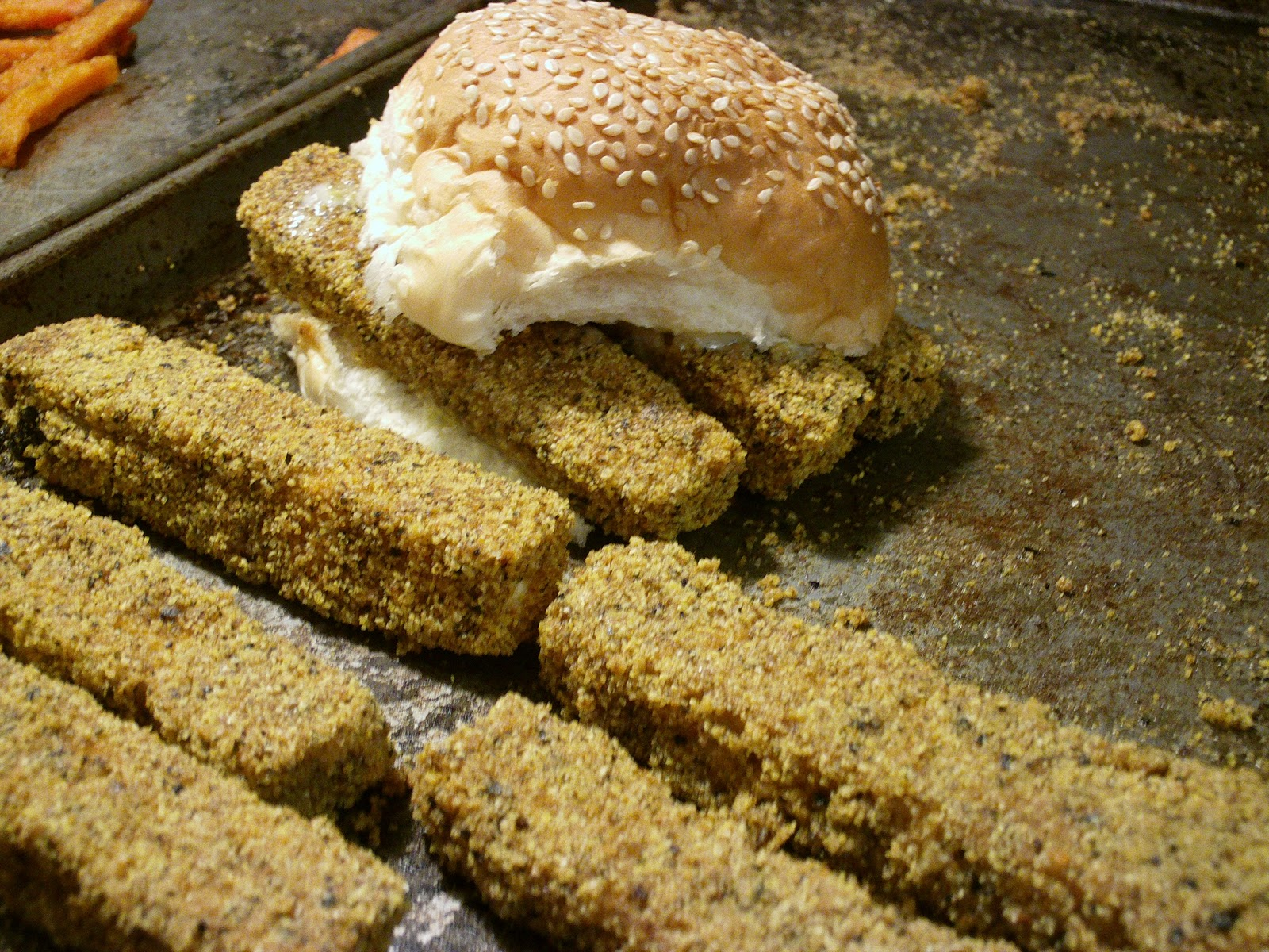 My vegan voyage and vegan recipes tofu fish sticks or for Fish stick sandwich