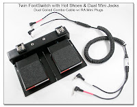 Twin FootSwitch with Hot Shoes, Dual Mini Jacks, and Coiled Combo Cable