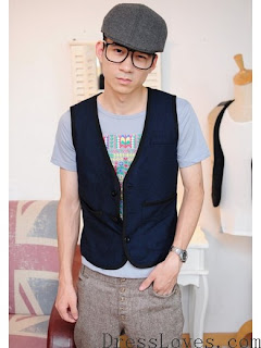Dark Blue Wool Blend Casual Men Slim Fit Vest