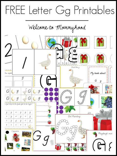 Tot Labs Presents: Letter of the Week- letter Gg printable pack by Welcome to Mommyhood #totlabs, #preschoolactivities, #letteroftheweek, #homeschoolactivities, #montessori, #montessoriactivities