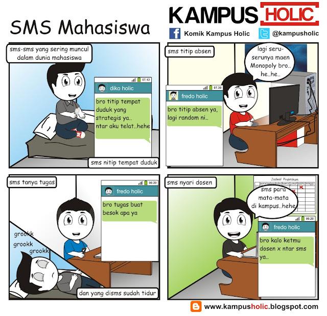 #156 komik SMS Mahasiswa kampus holic