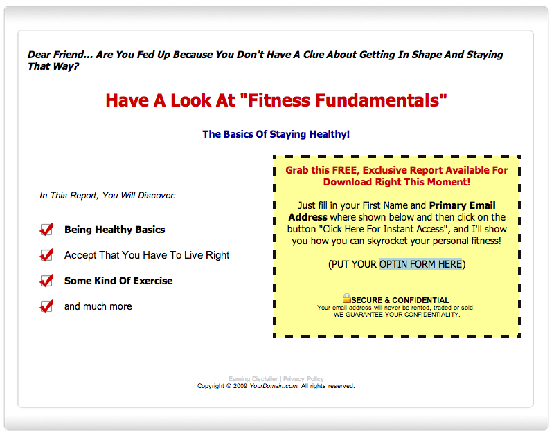 Fitness Fundamentals Lead Capture Page