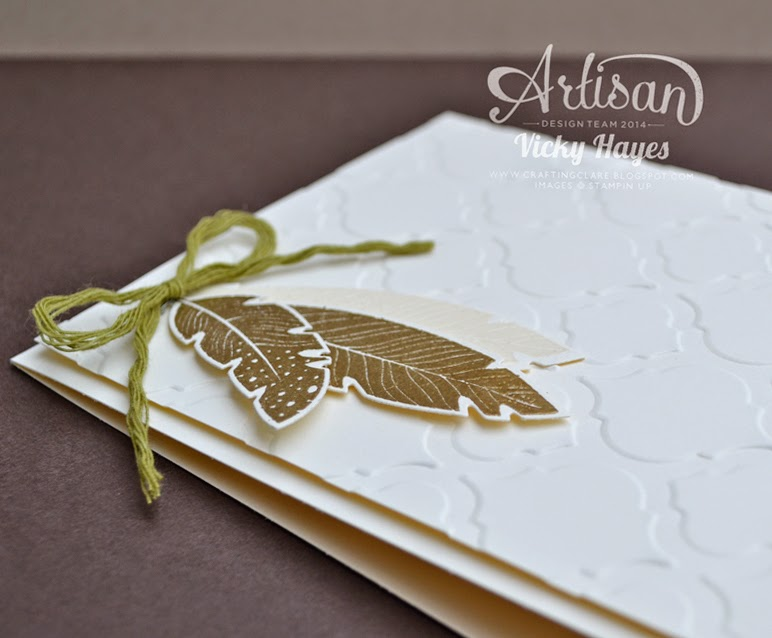UK Stampin Up demonstrator Vicky Hayes adds dimension to a simple embossed card