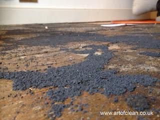 Detail of ancient pine floor before sanding