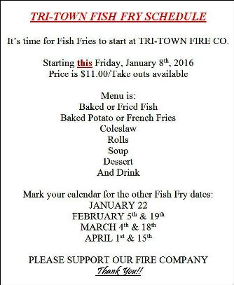 2-5/19 Fish Fry Schedule For Tri-Town