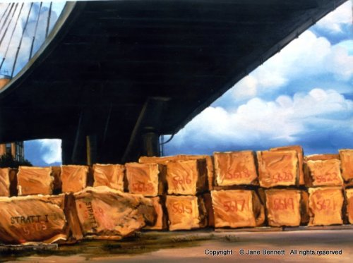"oil painting of the Anzac Bridge,Jacksons Landing, Pyrmont "" Sandstone under the Anzac Bridge"" 1998 oil on canvas 41 x 61cm by Jane Bennett, Artist"