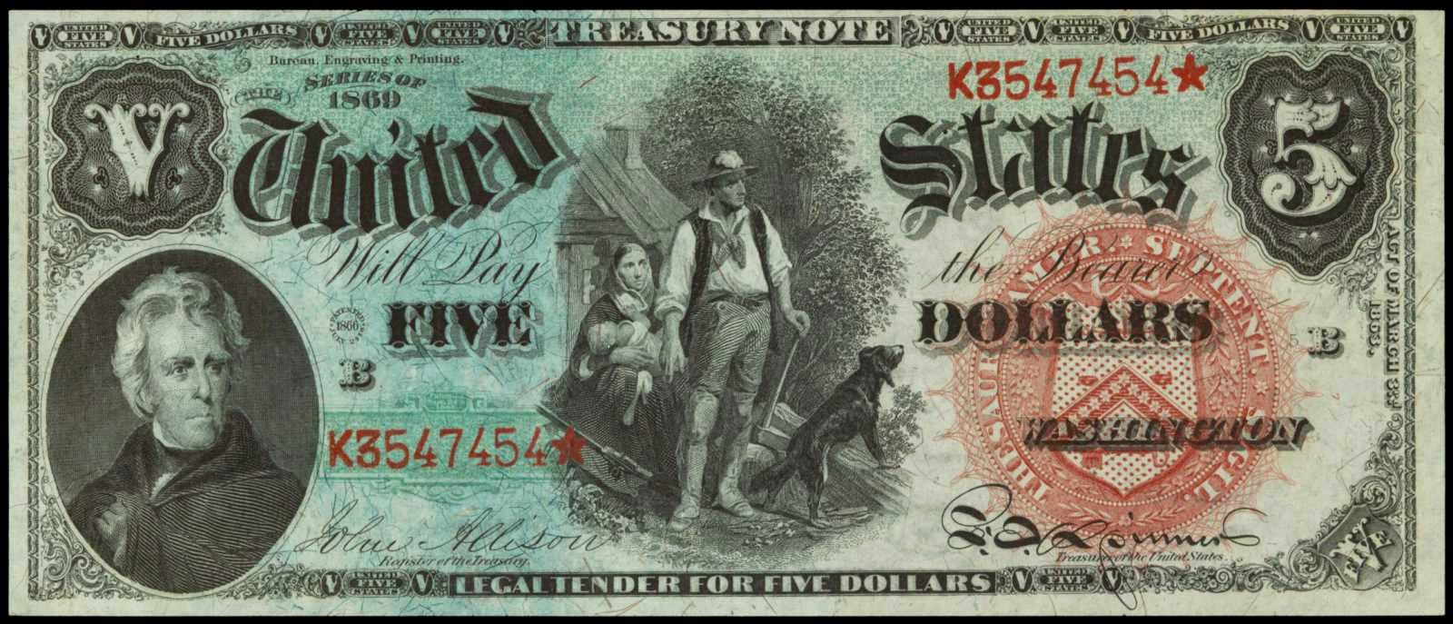 US currency 1869 5 Dollar Legal Tender Note Rainbow Woodchopper