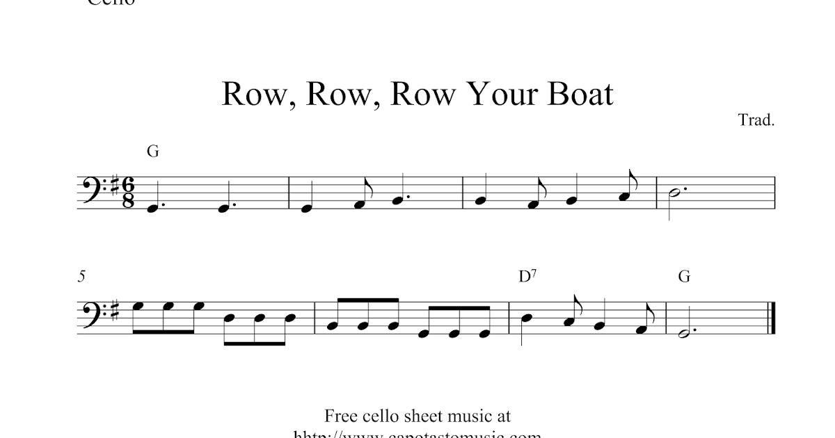 Free easy cello sheet music, Row, Row, Row Your Boat