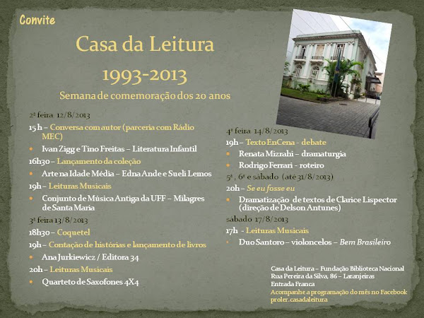 Semana de comemoração dos 20 Anos da Casa da Leitura