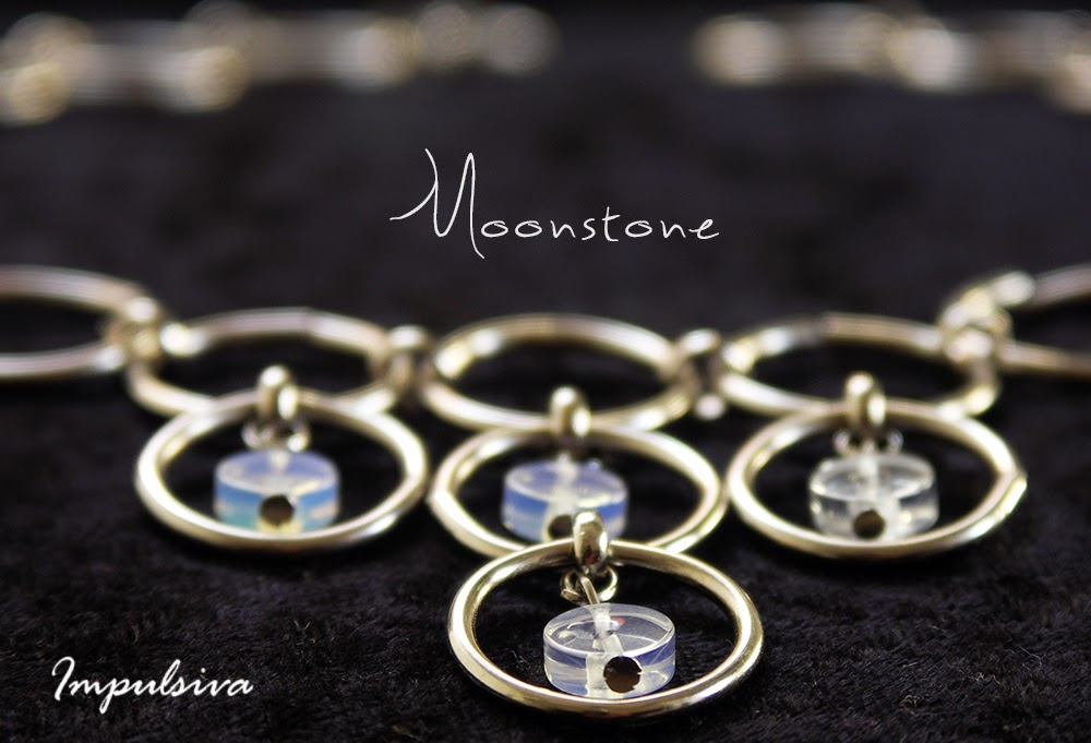 Ring chain necklace with moonstone