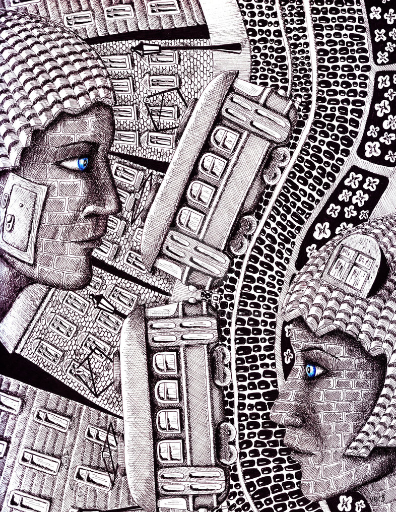 18-City-Love-Vitaliy-Gonikman-Surreal-Black-and-White-Drawings-with-a-Message-www-designstack-co