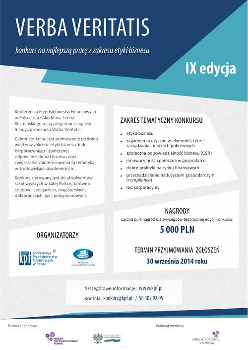 Plakat reklamowy konkursu na najlepszą pracę z zakresu etyki biznesu Verba Veritatis
