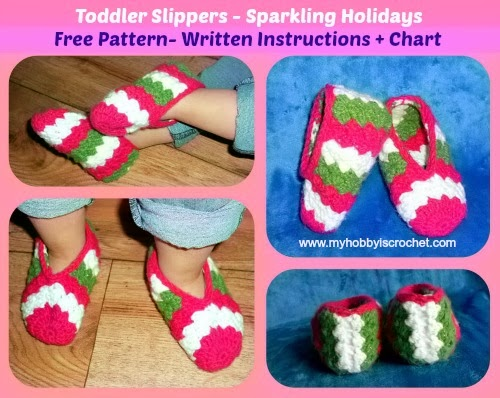 My Hobby Is Crochet: Toddler slippers Sparkling Holidays ...