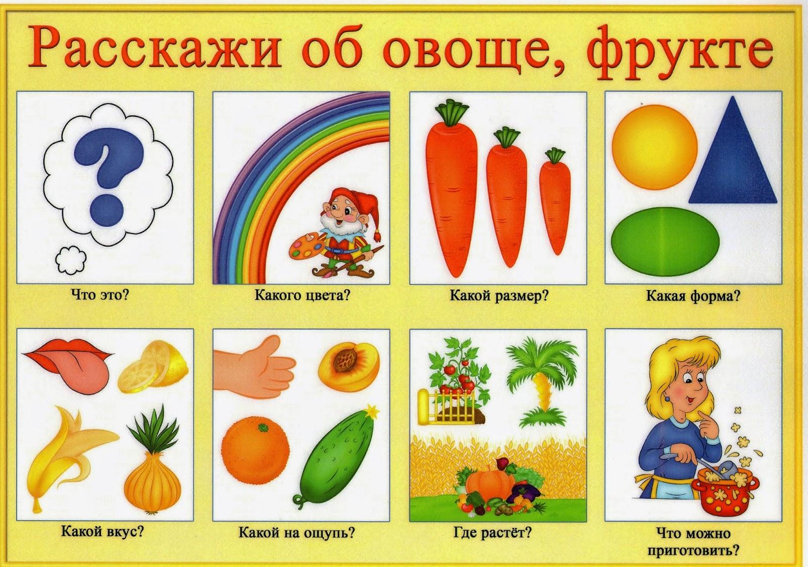 Схемы описания овощей для детей