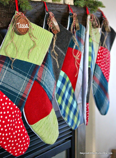 Christmas ideas, stockings, patchwork, upcycled, flannel,http://bec4-beyondthepicketfence.blogspot.com/2015/10/its-beginning-to-look-lot-like.html