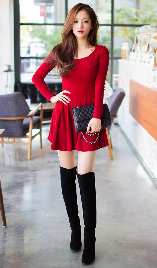 Long Sleeved Godet Dress