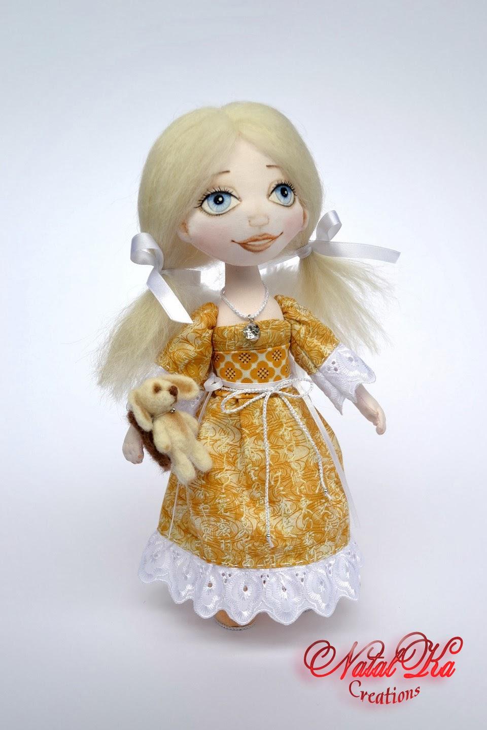 Авторская текстильная кукла от NatalKa Creations. Cloth art doll handmade by NatalKa Creations.