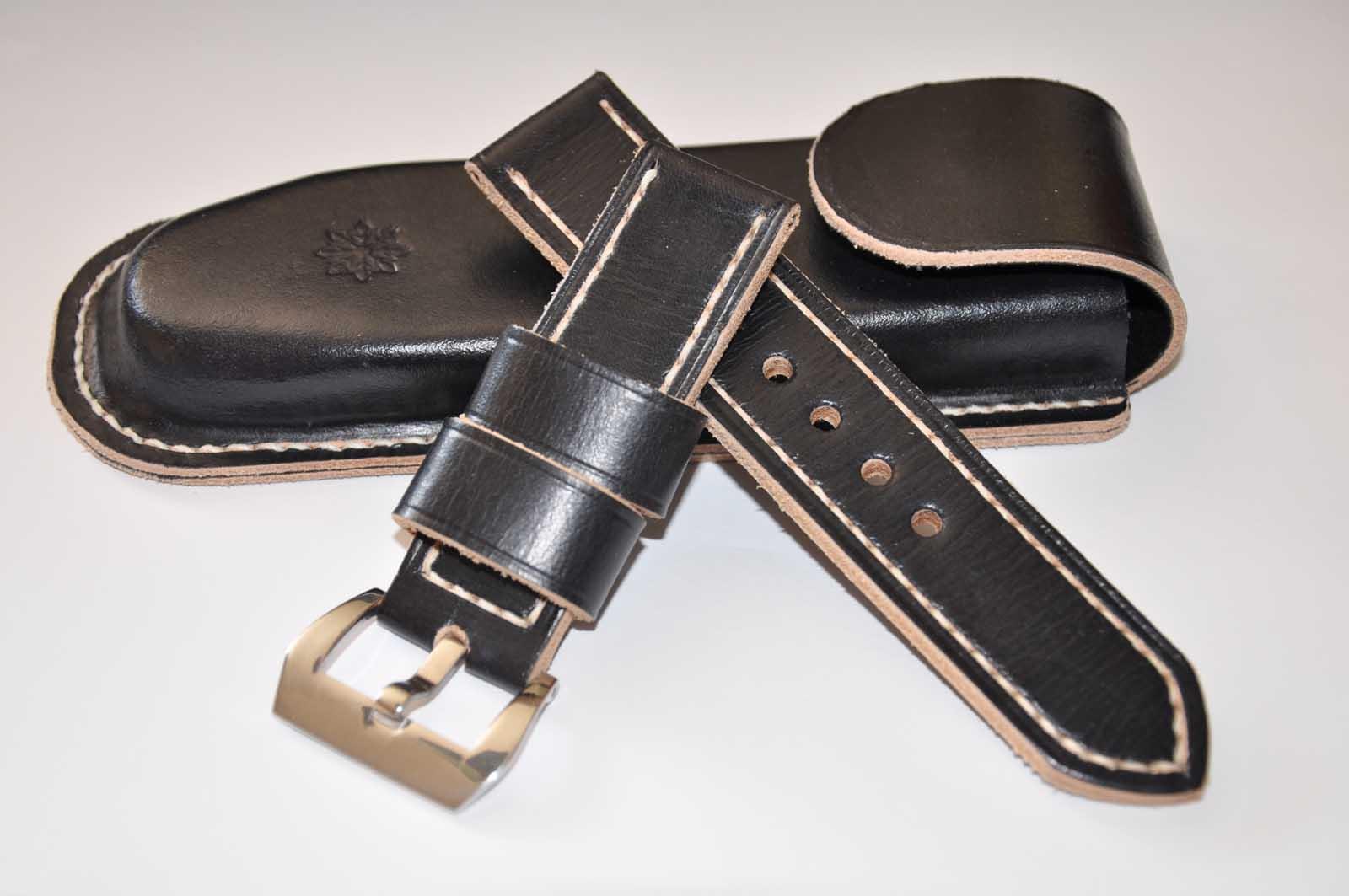 Centaurstraps handmade leather watch straps black handmade leather watch strap 24mm free for Black leather strap