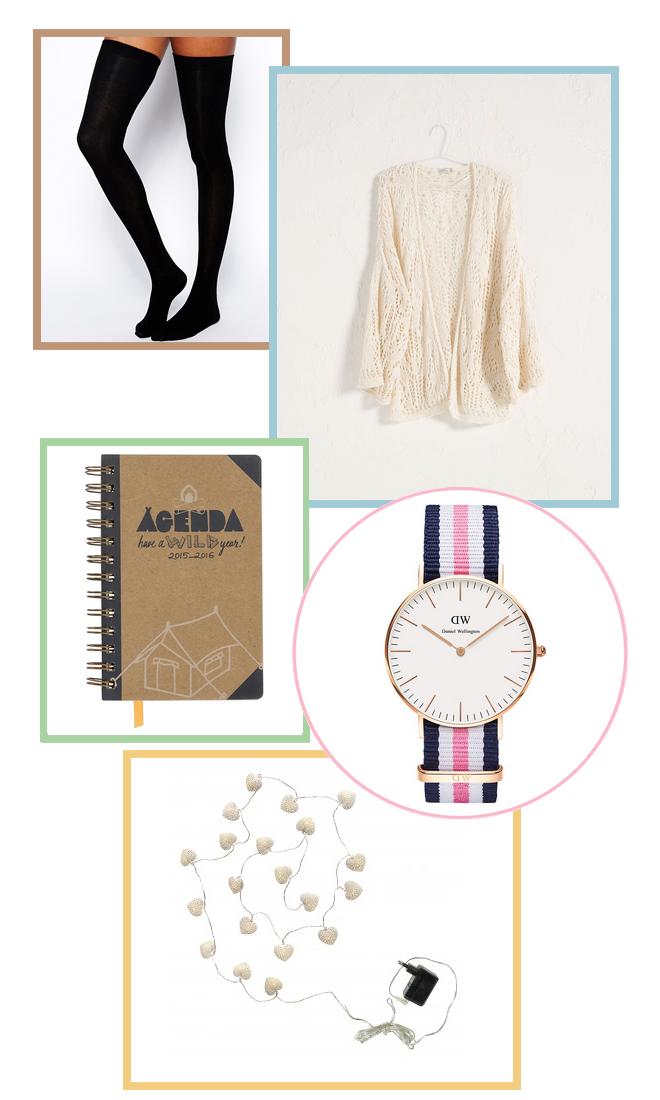 wishlist-chaussettes montantes-Asos-gilet-Bershka-Agenda-Hema-MontreWD-guirlande lumieuse-