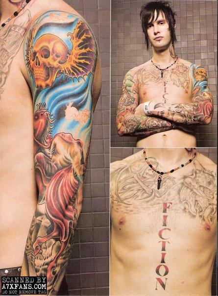 ... Jason (teman Jimmy) mentatto gambar biarawati di atas lengan kanannya