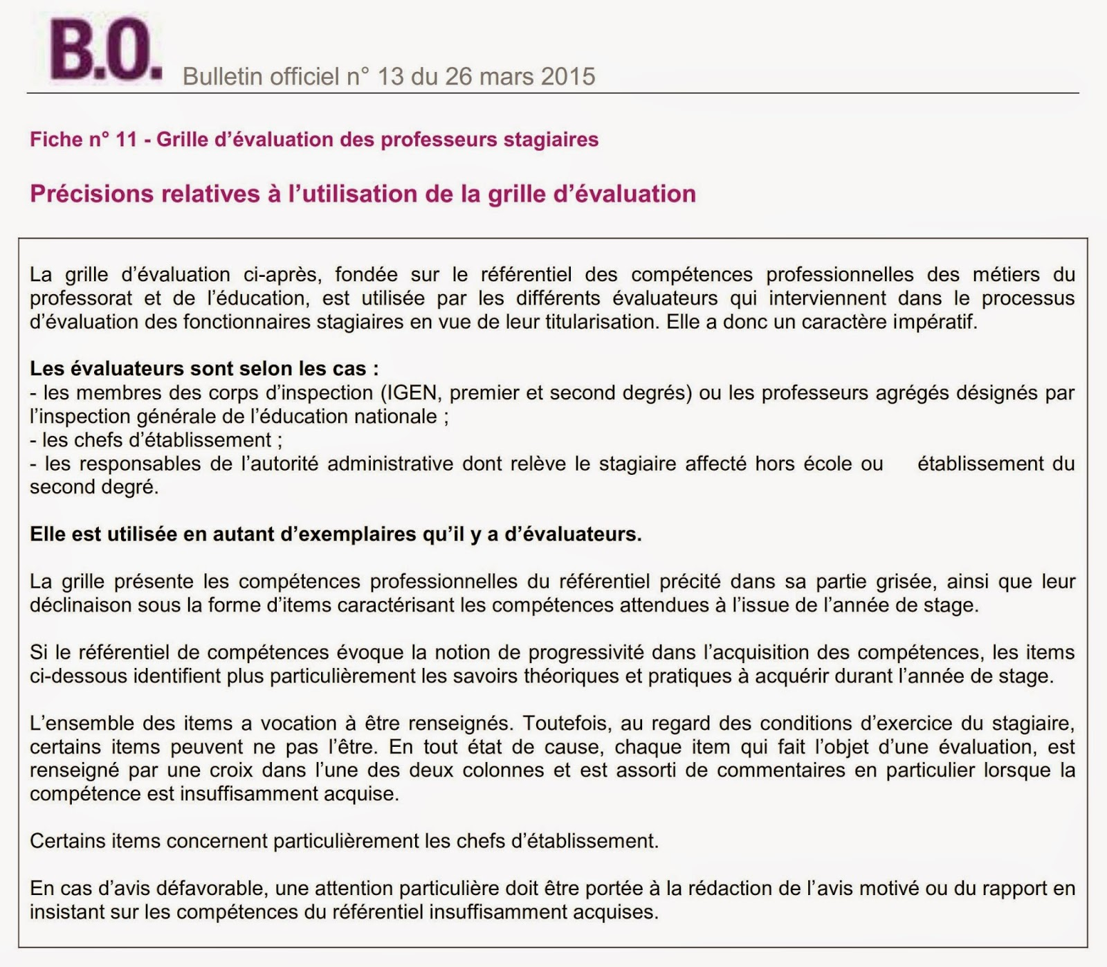 Titularisation des stagiaires cap siens - Grille indiciaire cpe education nationale ...