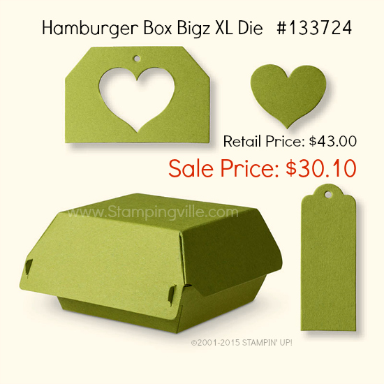 Photo Image of die-cuts the Hamburger Box Bigz Die will create using the Big Shot.