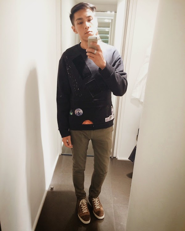 Joseph Wong wears Raf Simons / Sterling Ruby Fall Winter sweatshirt www.whats-he-wearing.com