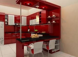 Kitchen Set Mini Bar Minimalis Merah Mengkilat Kitchen Set Semarang