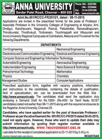Applications are invited for Professor and Associate Professor vacancies in various constituent colleges in various districts