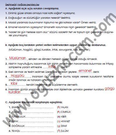 7sınıf Din Kültürü Ve Ahlak Bilgisi Kitabı Cevapları Sayfa 112 113