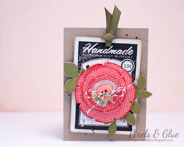hand-stamped button card with die-cut paper flower