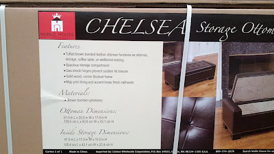 Noble House Chelsea Leather Storage Ottoman gas shock hinges