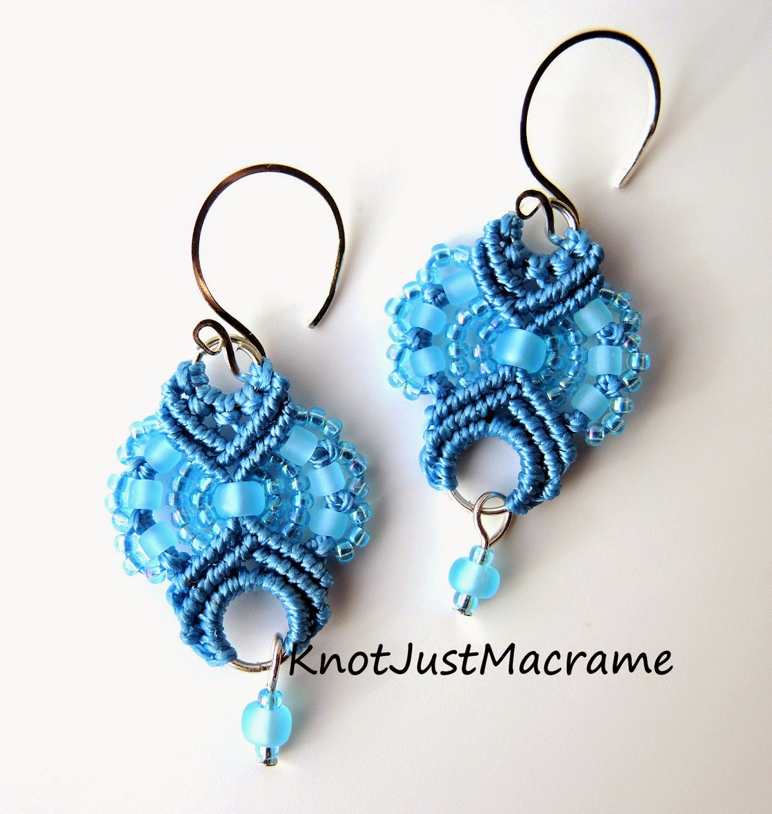 Micro macrame earrings in blue by Sherri Stokey of Knot Just Macrame.