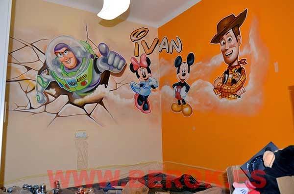 Mural infantil de Pixar