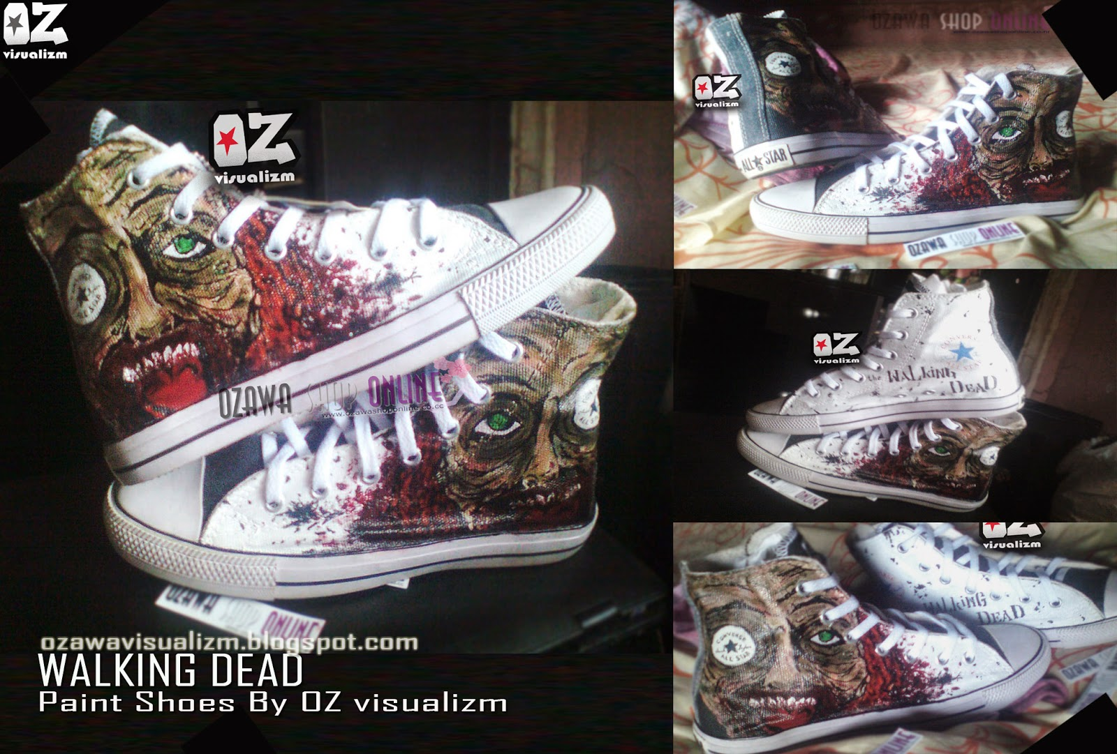 Ozawa Visualizm online shopz  SEPATU LUKIS WALKING DEAD CONVERSE ALL STAR 81cb0b9a95