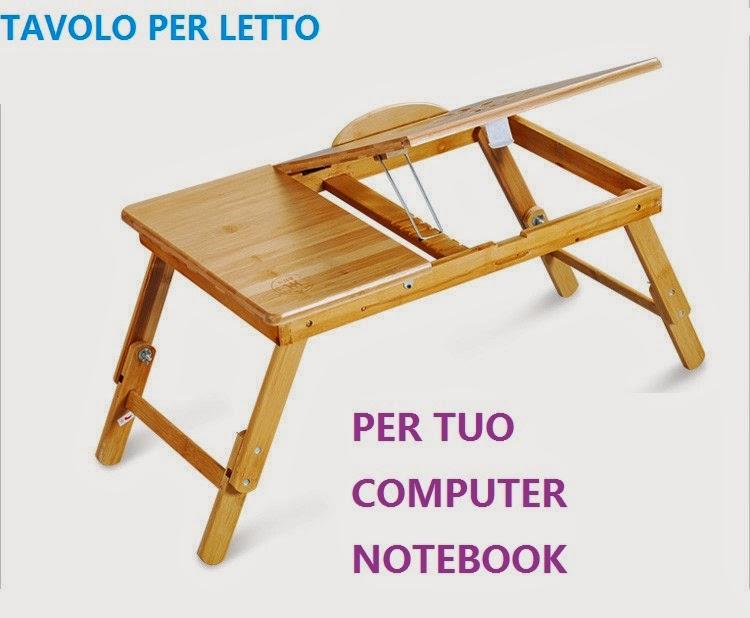 Tavolo da letto per notebook in legno con cassetto porta - Tavolino da letto per pc ...