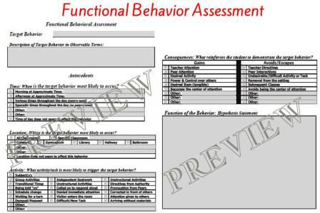 The Special Editor Functional Behavior Assessment  Behavior