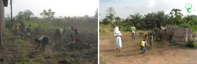 I bambini della Missione in Togo lavorano la terra